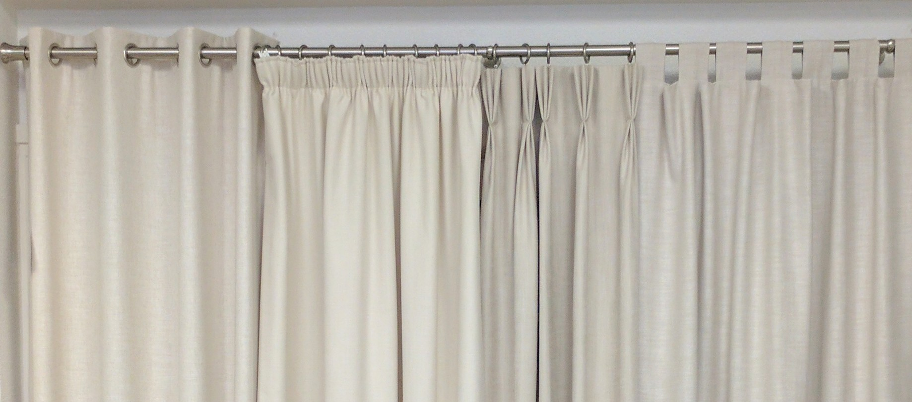 Curtain type display showing pleat, tab and many other curtain types