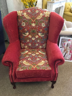 Red William Morris Strawberry Thief Cambridge Wing Chair