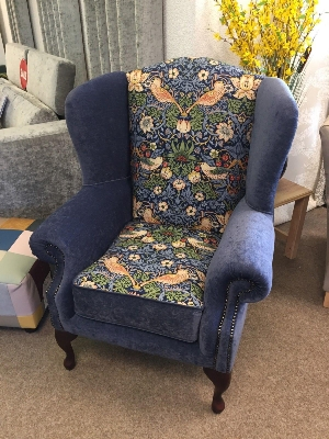 Blue William Morris Wing chair Fireside chair