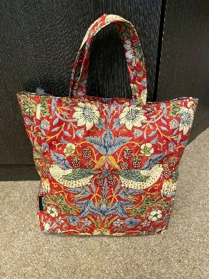 Red Strawberry Thief Bag in William Morris