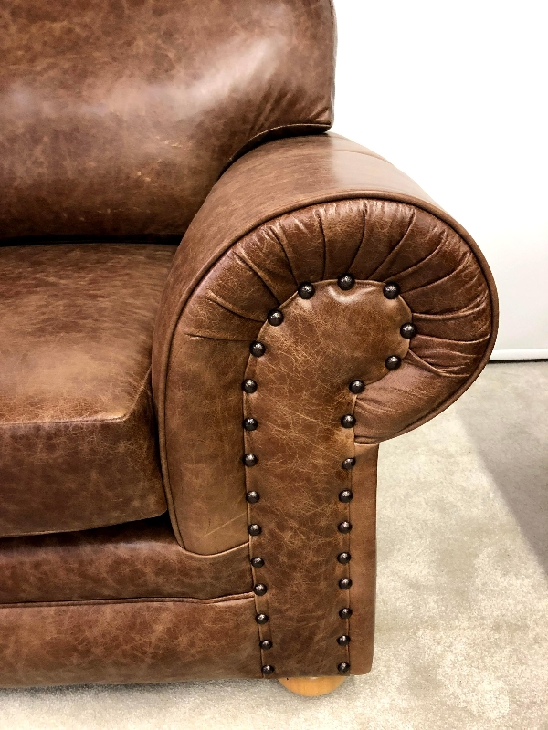 Richmond leather 3 seater full back sofa | New England ...