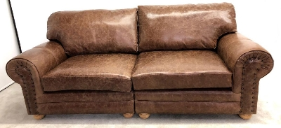 Richmond leather 3 seater full back sofa